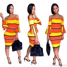 2019 Yellow <b>Orange Stripe Sexy</b> Bandage Dress Women Slash ...