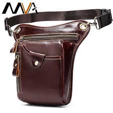 MVA <b>Leather</b> Funny Waist Packs Drop Leg Bags Belt Pouch Men's ...