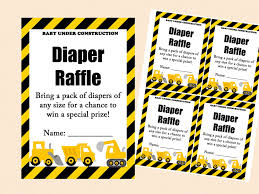 diaper raffle sign diaper raffle ticket diaper raffle card diaper raffle printable diaper raffle sign raffle insert construction baby shower card tlc20