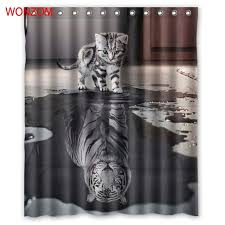 <b>WONZOM Tiger</b> and Cat Shower Curtains with 12 Hooks For ...