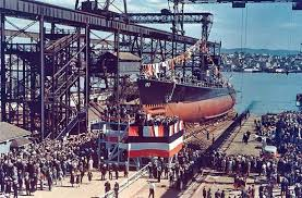 Photograph A launching ceremony is held for the USS Swordfish at the Mare Island Navy