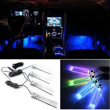 4pcsset automotive car led interior foot decorative mood light atmosphere light lamp car lighter car mood lighting