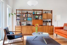 beautiful teak wooden shelf in scandinavian living room beautiful mid century modern danish style teak