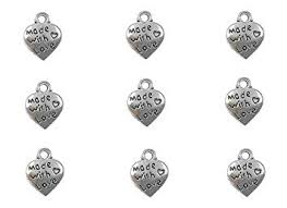 100pcs Made with Love Lettering Charm Peach Heart ... - Amazon.com