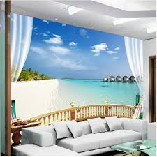 <b>3D</b> beach sea view living room sofa bedroom <b>wallpaper</b> mural ...