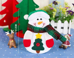 household dining table set christmas snowman knife: pcs halloween sock tableware cutlery bags dining christmas pretty table decorations fork pocket navidad bagsnowflake pattern