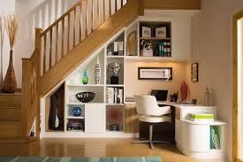 home office cosy computer chair in fabulous home office under stairs design idea plus white bookshelf area homeoffice homeoffice interiordesign understair