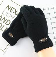 <b>Men's</b> winter <b>double layer</b> thicken warm black color knitted gloves ...