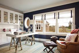 view in gallery dark blue walls bring chic elegance to the stylish home office design garrison hullinger chic home office interior