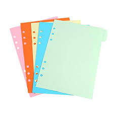 5Pcs Refills 6 Hole Blank Colorful Paper for A5 A6 ... - Amazon.com