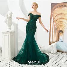 <b>Elegant Dark Green</b> Evening Dresses 2019 Trumpet / Mermaid Off ...