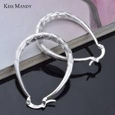 ซื้อที่ไหน Kiss Mandy Silver Hoop Earrings <b>Round</b> Trendy Wave Big ...