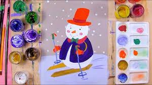 Как нарисовать <b>снеговика на лыжах</b> - урок рисования для детей ...