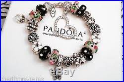 authentic pandora silver charm bracelet with european charms love black crystal authentic black crystal