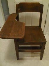 antique wooden school desk chair with arm stand and book rack underneath antique wood office chair