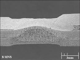 Weld cross section for (1st pulse) + (2nd pulse) + (8-cycle current on ...
