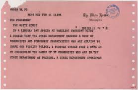 telegram from senator joseph r mccarthy to president harry s 2