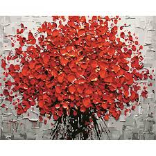 Red Flower <b>DIY Painting By</b> Numbers Hand Painted Acrylic Picture ...