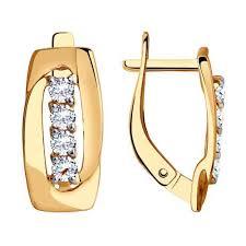 Золотые серьги <b>SOKOLOV</b> 028489_s c фианитом — купить в ...