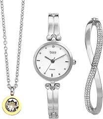Burgi <b>Women's</b> Jewelry Gift Set – Half Bangle <b>Diamond Watch</b>