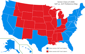 sat this map of the united states shows the states in which blue color more seniors in the class of 2006 took the sat than the act and the states in which