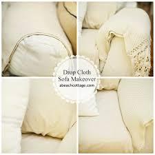 No Sew <b>Sofa</b> Makeover How to Cover a <b>Sofa</b> with <b>fabric</b> / drop <b>cloth</b> ...