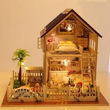 home decoration crafts diy doll house wooden doll houses miniature diy dollhouse furniture kit room led building doll furniture