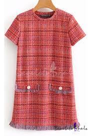 <b>Womens Chic Plaid</b> Pattern Round Neck Short Sleeve Tassel Hem ...