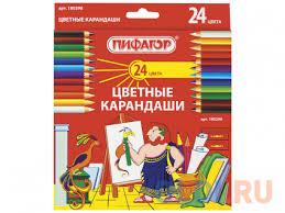 <b>Набор цветных карандашей ПИФАГОР</b> 180298 24 шт 176 мм ...