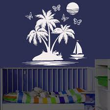 palm tree wall stickers: dctop white diy home decor wall sticker palm tree sailboat butterflies and moon landscape removable wall