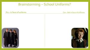 argument essay writing school uniforms overview the steps to 7 brainstorming school uniforms pro in favor of uniforms con not in favor of uniforms