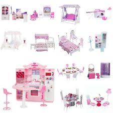 luxury plastic furniture play set for barbie dolls house kitchen bathroom acces barbie furniture for dollhouse