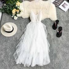 2019 ruffle <b>dress New</b> Women Tulle <b>Dress</b> Summer High Waist ...