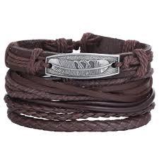 17KM <b>Vintage Adjustable Leather Bracelets</b> Set For Man Women ...