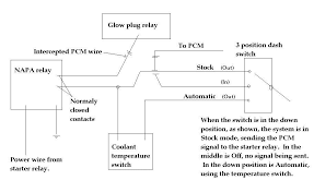 home Ford Glow Plug Relay Wiring Diagram if wired according to the diagram, it will cut the signal regardless if the dash switch is left in 'automatic' or 'stock' position 97 ford 7.3 glow plug relay wiring diagram
