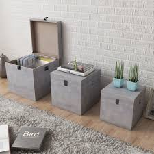 FAGINEY <b>Storage Box Concrete 3</b> pcs Square Gray MDF - Walmart ...