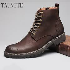 Tauntte <b>Winter Cow Leather</b> Ankle Boots Men Retro Bullock Carving ...