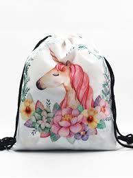 1 Pc Drawstring Storage Bag Creative <b>3D</b> Printing <b>Unicorn Pattern</b> ...