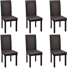 6 Modern Artificial Leather Wooden Dining Chairs ... - Amazon.com