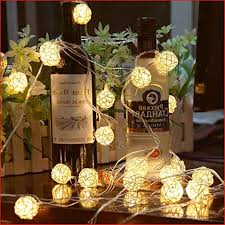 Globe Rattan <b>Ball String Lights</b>, Goodia 13.8feet 40 LED Warm ...