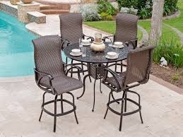 patio stools: sorrento  pc cast aluminum amp woven resin wicker swivel bar set with