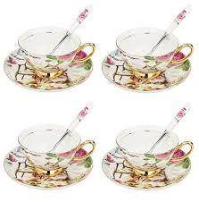 ARTVIGOR <b>Drinkware Coffee China</b> Cup and Saucer <b>Set</b> with ...