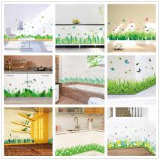 <b>flower green grass</b> butterfly <b>baseboard</b> Wall Stickers <b>Skirting</b> living ...