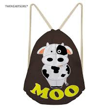 2019 <b>TWOHEARTSGIRL</b> Cute <b>Women Drawstring Bag</b> Cow Print ...