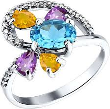 Серебряное кольцо <b>SOKOLOV</b> 92010599_s с аметистами ...
