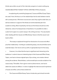 a cause and effect essay sample of a cause and effect essay samples of cause and effect