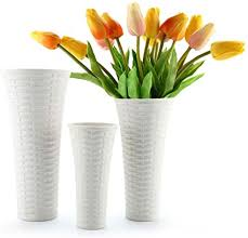 ComSaf Ceramic <b>Flower</b> Vases Set in White, Home Decor Vases ...