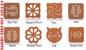 3/5 PCS Cute <b>Bamboo</b> Placemat Heat <b>Insulation pad Table Desk</b> ...