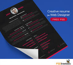 download free    best free resume   cv templates psd at    creative resume template for web designer free psd