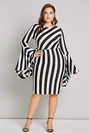 <b>Misshow 6XL</b> Flare Sleeve <b>Plus Size</b> Women Bodycon Dress Sexy ...